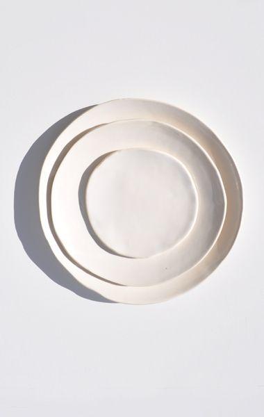 Akiko Graham White Porcelain Plates /