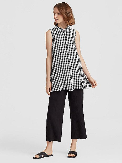Organic Linen Gingham Mandarin Collar Tunic Eileen Fisher Clothes Womens Casual Outfits Elegant Outfit