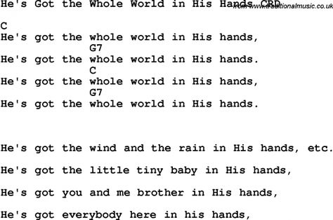 Christian Chlidrens Song He S Got The Whole World In His Hands Crd