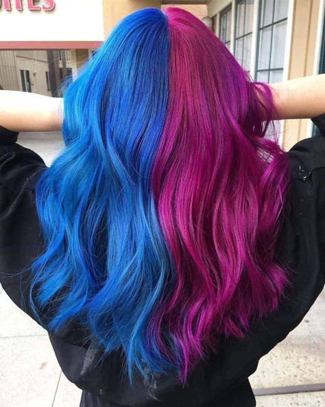 Are you looking for some super fun and trendy split hair color ideas? Here are some of my absolute favorite half hair dye looks this season! If you want some split dye hair inspo, this post is for you. Half hair color and split dye trends are my jam! Two Color Hair, Cute Hair Colors, Hair Dye Colors, Bright Hair Colors, Cool Hair Color, Hair Color Tips, Split Hair, Split Dyed Hair, Half Dyed Hair