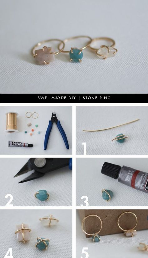 Diy stein ringe diy handwerk handwerk einfach handwerk diy ideen diy handwerk cracker - Laundry Room - Wedding Make Up - DIY Jewelry Easy - Hairstyle For Medium Length Hair - DIY Kid Room Ideas Anel Tutorial, Wire Rings Tutorial, Diy Wire Rings Easy, Diy Stone Rings, Stone Jewelry, Diy Jewelry With Stones, Diy Rock Rings, Rock Jewelry, Hand Made Jewelry Ideas