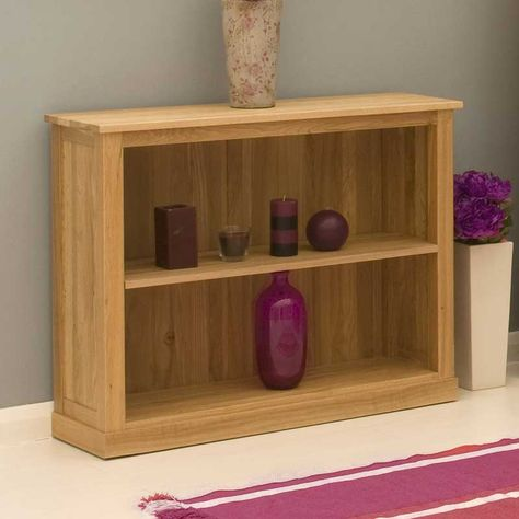smart and tidy low bookcase made from sold oak