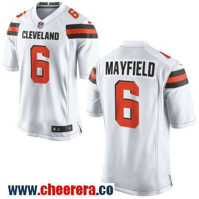 sale retailer 646da a61f6 Men's Cleveland Browns #6 Baker Mayfield White Road Stitched ...