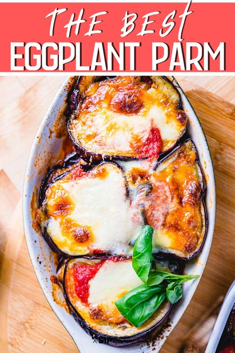 Eggplant parmigiana (parmigiana di melanzane) is the ultimate comfort food. This Sicilian style version omits the breadcrumbs, egg, and flour for a lighter, rustic dish that is big on eggplant flavor! #eggplantparmesan #eggplantrecipe #italianfood #dinner #comfortfood