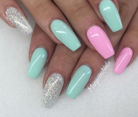 44 Coffin Acrylic Summer Nail Designs 2019 Silver Nails Green