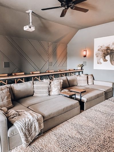 Media Room Makeover with The Home Depot Home Cinema Room, Home Theater Rooms, Cinema Room Small, Home Theatre, Theater Room Decor, Home Theater Room Design, Game Room Decor, Room Interior Design, Kitchen Interior