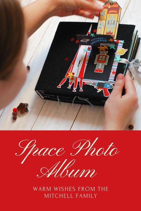 8x8 Space Baby Photo Album Scrapbook Memory Book For Boy Black