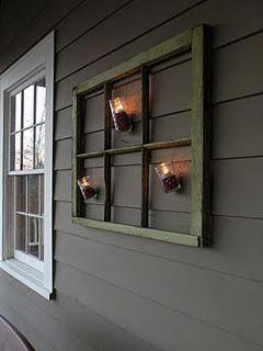 Outdoor Holiday Decor Mason Jars Cranberries Tea Lights Hanging From Old Window Outdoordecor Old Window Decor Old Window Projects Window Crafts