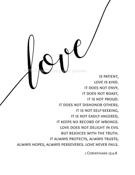 """Christian scripture wall art - 1 Corinthians 13 : 4-8 Bible verse print - """"Love is patient, Love is kind"""". Printable art by My Color Mood (Etsy)."""