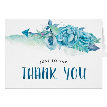 Boho Blue Watercolor Floral Thank You Card Zazzle Com Floral