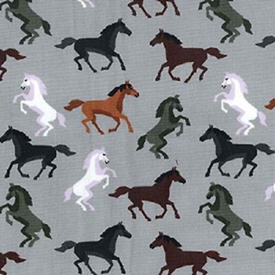 ROSE AND HUBBLE SILVER GREY HORSES FABRIC 100/% COTTON FAT QUARTER