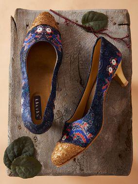 Blue Golden Mughal Printed Silk Kitten Heels Heels Indian Shoes