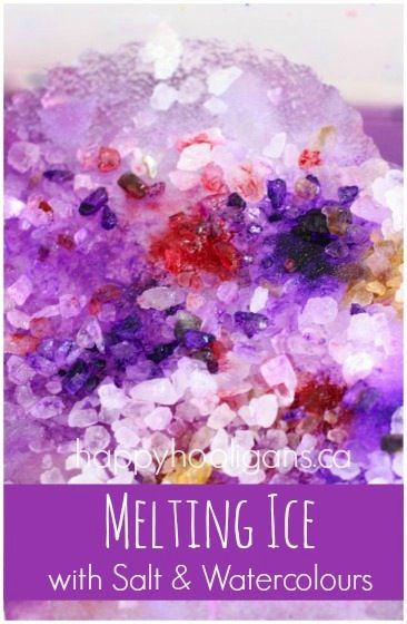 Melting Ice with Salt and Watercolours  Art, science and ice play all rolled into one.  This kept the girls busy for over an hour this morning.  Great activity for a day when it's too cold to get outside. (happy hooligans)