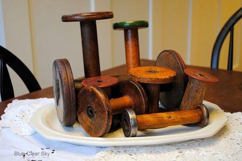 Vintage Industrial Wooden Spools