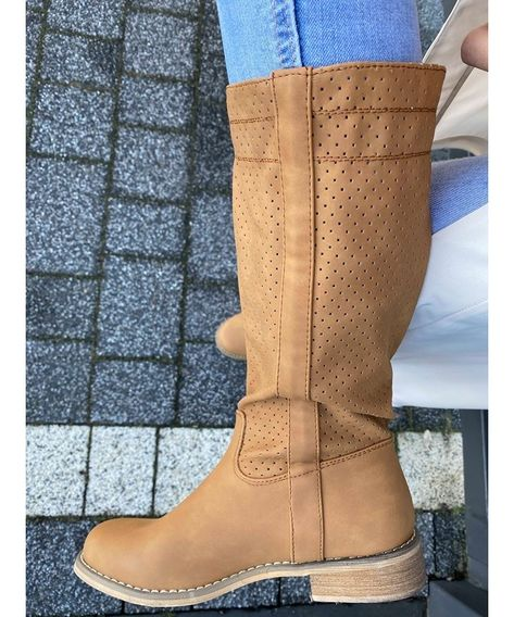 Wiosenne Kozaki Z Perforowana Cholewka Bez Ocieplenia Boots Shoes Wedge Boot