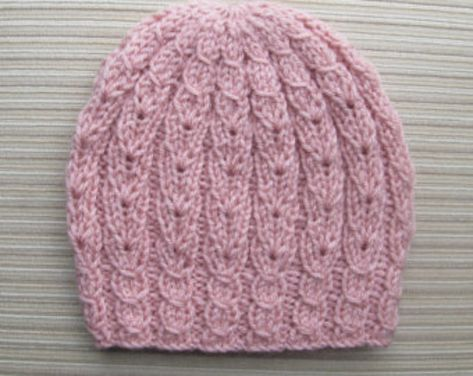 Knitting Pattern Blue Hat with Mock Cables for a Lady
