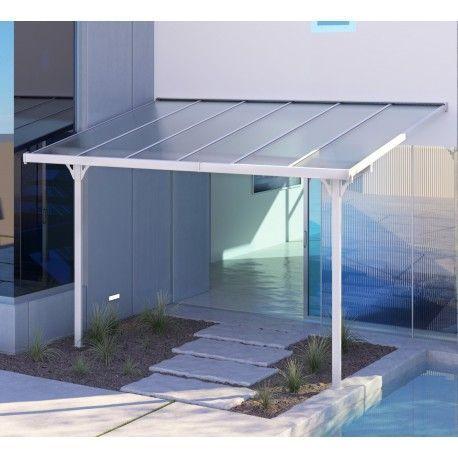 Adjustable White Lacquered Aluminum Pergola 3 75 2 55m X Metal In 2020 Aluminum Pergola Pergola Aluminum