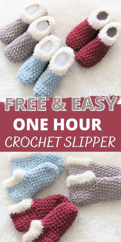 Easy Crochet Slippers, Crochet Slipper Boots, Crochet Socks Pattern, Pattern Sewing, Slipper Socks, Free Crochet Slipper Patterns, Free Easy Crochet Patterns, Baby Slippers, Shoe Pattern