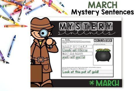 Mystery Sentences March - Editable