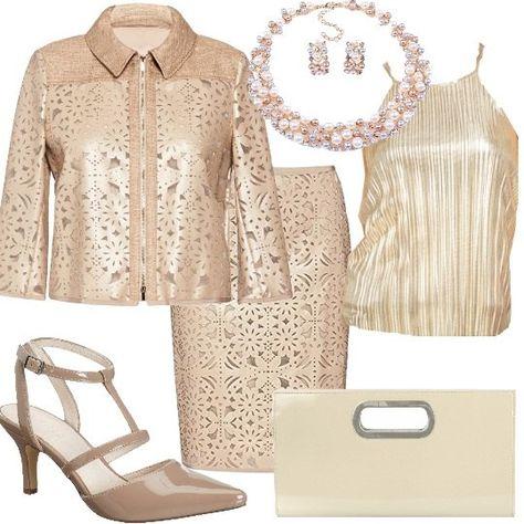 d7032c191b30 Un look particolare sullo stile Chanel composto da completo giacca con zip  e maniche 3 4