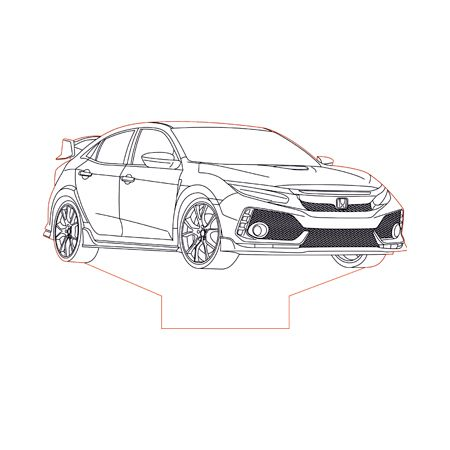 2017 Honda Civic Type R 3d Illusion Lamp Plan Vector File For Laser And Cnc 3bee Studio Honda Civic Type R Honda Civic Civic