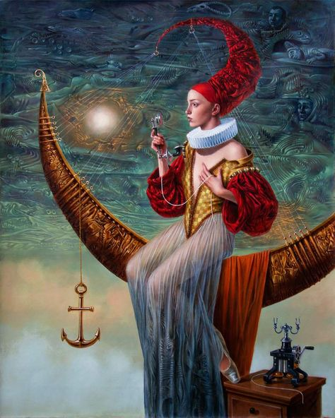 The Ringing Silence of the Moon  Art by Michael Cheval Surreal illusion art Fantasy Art whimsical Art #fantasyart #Surrealart #Surrealfantasyart #whimsicalart