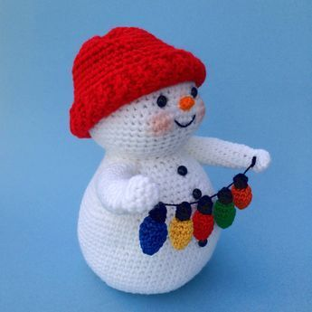 **THIS IS ONLY A PATTERN AND NOT THE FINISHED SNOWMAN** Since Snowmen are my fav, I just had to add yet another to my collection. This little guy was really easy to make up. He was made using 4-ply acrylic yarn and his lights are made with #3 AMC floss using an E hook. He stands about 8 1/2