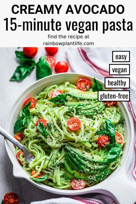 Quick, easy, and foolproof, this 15-Minute Creamy Avocado Vegan Pasta is perfect for busy weeknights. With just a few pantry staples and ripe avocados, you can have dinner on the table in a snap. #avocados #avocado #15minutedinner #quickdinner #easydinner #vegandinner #15minutemeal #BestNutritionFood