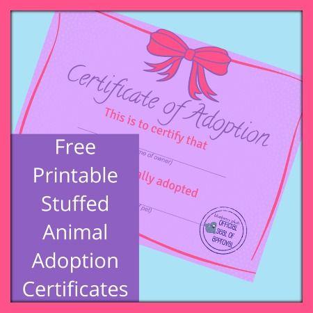 Free Printable Stuffed Animal Adoption Certificate Pink Bow