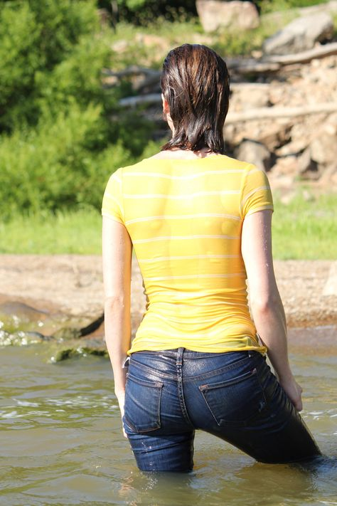 Girl Wet In Jeans