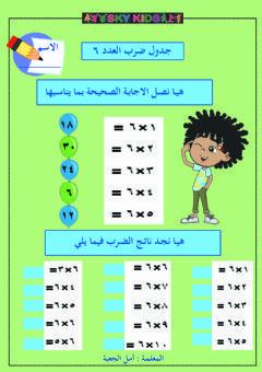 جدول الضرب للعدد ٦ Language Arabic Grade Level 4 School Subject الرياضيات Main Content جدول الضرب للع Arabic Alphabet For Kids Alphabet For Kids Worksheets