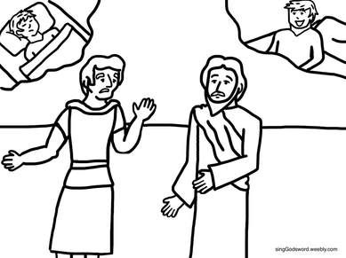 Free Coloring Sheet Of Jesus Healing The Officials Son For More