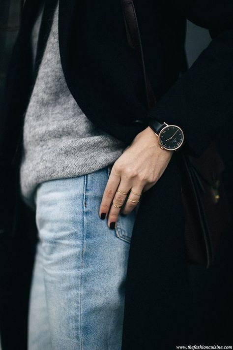 MINIMAL + CLASSIC: Outfit Details: Bleached forever 21 jeans, mohair grey sweater, Kapten and Son