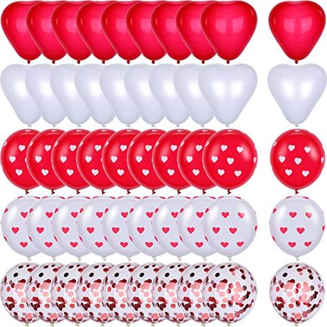 Happy Valentines Day Balloons Bouquet Decorations in Pearl White Rose Latex Balloon and Heart Shaped Mylar Love Balloon for Arch Column Stand School Wedding Baby Shower Birthday Party Supplies Treasures Gifted