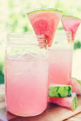 Blend chilled watermelon with coconut water, fresh lime and mint. These look amazing