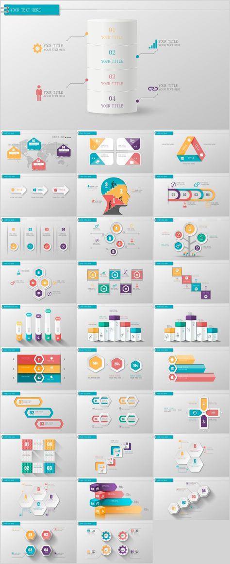 30 Three Dimensional Infographics Powerpoint Template