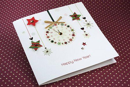 Handmade New Year Card New Year Clock New Year Cards Handmade Happy New Year Cards New Year Greeting Cards