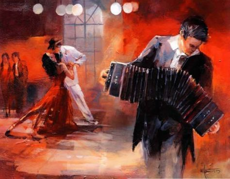 Spanish movie Poster.Argentina Tango Dance Art.Bandoneon.Musical ACCORDION