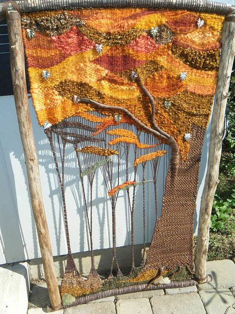 This one-of-a-kind sculptural tapestry will look spectacular on your wall! The primitive loom (approx. was constructed from elm logs