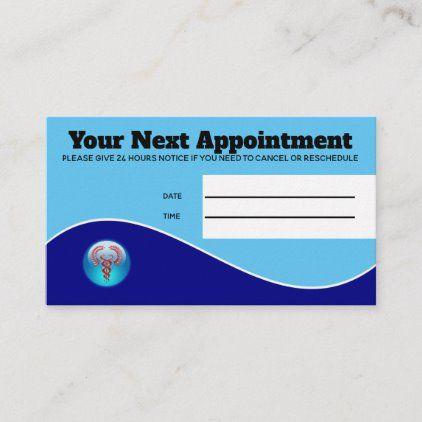 Medical Hospital Blue Red Caduceus Patient Appointment Card Zazzle Com Appointment Cards Appointments Business Card Size