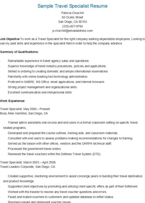 Online Travel Agent Sample Resume ophion - Virtual Travel Agent Sample Resume