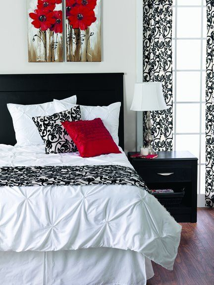 Red Bedroom Decor more red, black and white! striking! want to see more? www