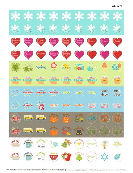 Printable calendar stickers! Lots of different ones at site, Free. I'd ...