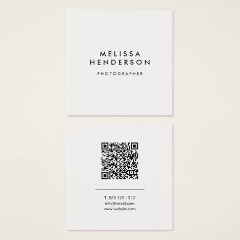 Minimalist Modern Qr Code Square Business Card Zazzle Com Business Card Design Minimalist Qr Code Business Card Marketing Business Card