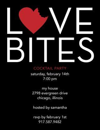 Love Bites – Signature White Valentine's Day Party Invitations in Black or Fuchsia   DwellStudio