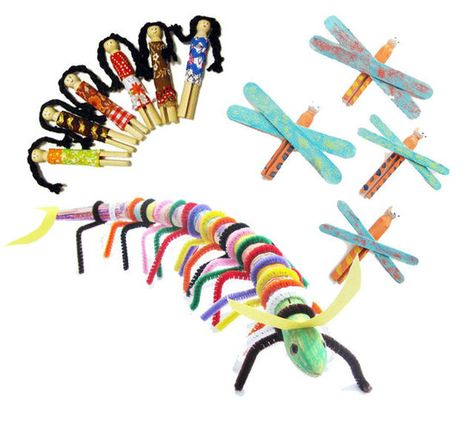 Green Kids Crafts -- Oh the many ways to use popsicle sticks and pipe cleaners!