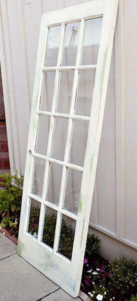 Vintage Glass Pane Door Headboard Glass Pane Door Door Headboard Handmade Home Decor