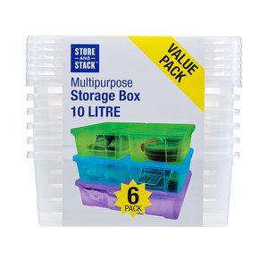 Storage Box With Lid 10l 6pk Storage Box Box With Lid Storage Boxes With Lids