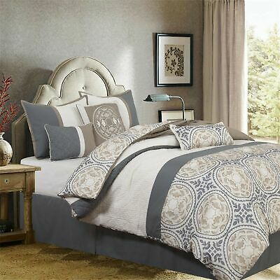 Details About Gray Grey Taupe Ivory Medallion Quilted 7pc Comforter Set Queen Cal King Bedding In 2020 Comforter Sets Print Comforter King Comforter Sets