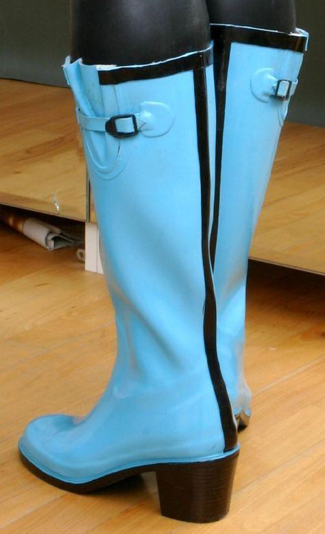 HIGH HEELS ABSATZ GUMMISTIEFEL Rubber Boots 40